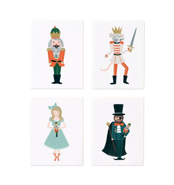 Nutcracker Set of 8 Folded Cards, 2 of Each Design