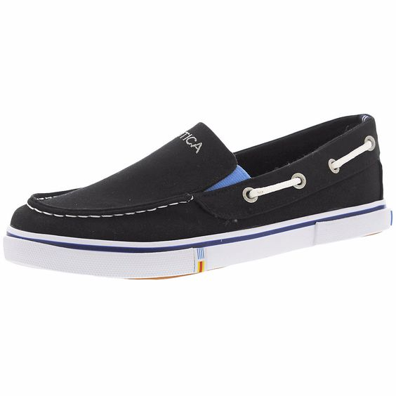 Nautica - Boy's Canvas Boat Shoes - Black/White