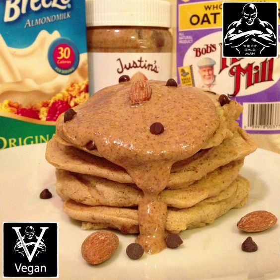 marzipan chocolate chip pancakes - THE FIT BALD MAN
