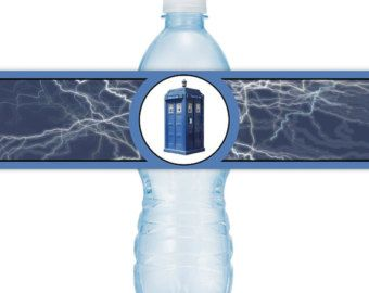 INSTANT DOWNLOAD - Dr. Who Birthday Party Water Bottle Labels, you print, you cut, DIY water bottle labels