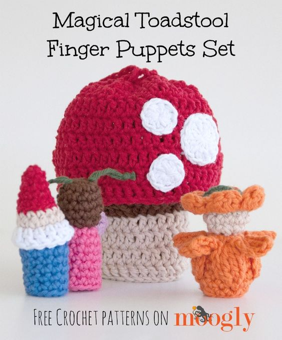 Amigurumi Free Pattern Hippo : Magical Toadstool Finger Puppets Set - free crochet ...