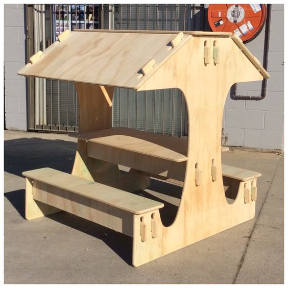 Kids wooden table and chair set - Picnic table with roof - Best for ages up to 5-6 yrs