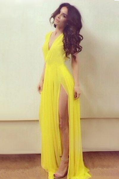 yellow v neck maxi dress on sale