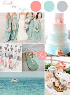 coral and aqua beach themed wedding color ideas for 2015   Honeymoons.com
