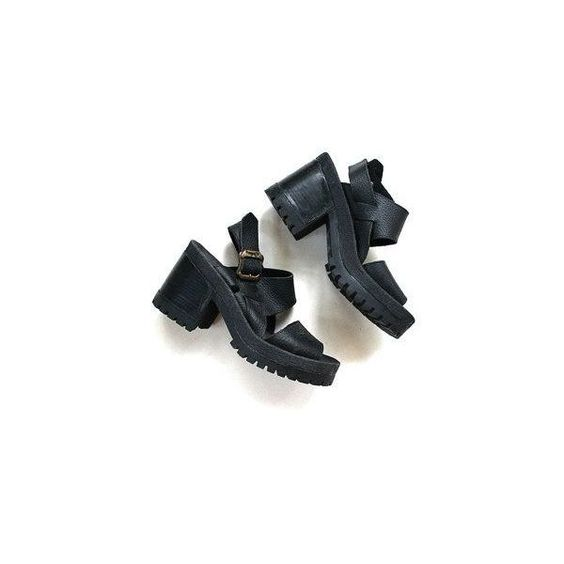 Vintage Black Leather Platform Sandals Size 6 ❤ liked on Polyvore featuring shoes, sandals, leather sandals, vintage leather sandals, black platform sandals, ankle strap sandals and black leather shoes