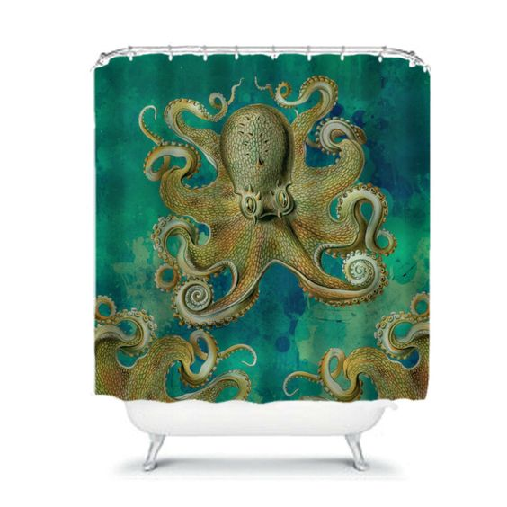 Octopus Shower Curtain, Teal, Tentacles, Octopus Bathroom Decor by FolkandFunky on Etsy https://www.etsy.com/listing/253510934/octopus-shower-curtain-teal-tentacles