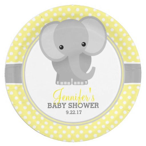yellow baby showers baby elephants paper plates elephants baby showers