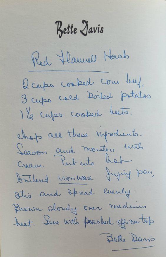 Bette Davis' Red Flannel Hash
