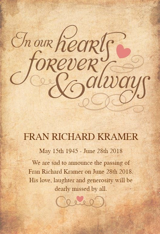 In Our Hearts Forever Memorial Card Funeral Invitation Memorial Cards Memorial Announcement