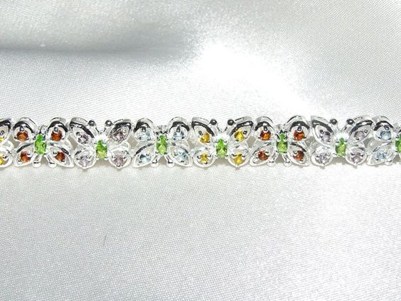 Vintage MultiGemstone Butterfly Bracelet by InVogueJewelry on Etsy, $69.00