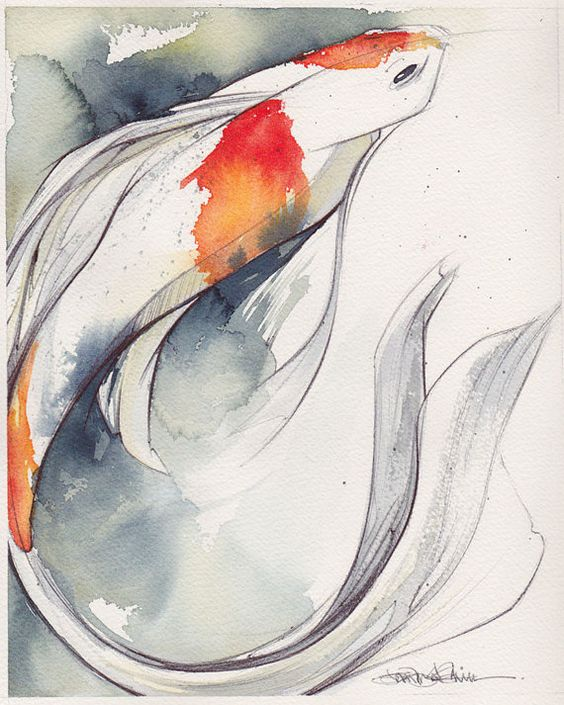 810 koi original watercolor watercolors originals and for Original koi fish