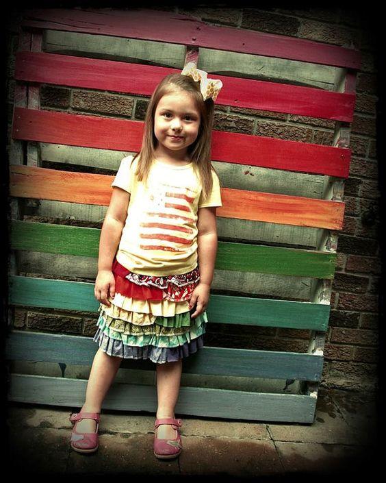 UpCycled Rainbow Days Ruffle Skirt you pick size 6m by HustleMama, $36.00