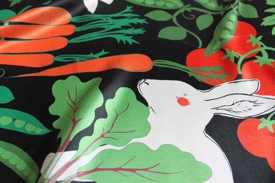 Rabbits in the Garden Printed Silk Scarf