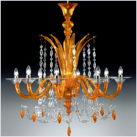 chandleir | ... with modern contemporary touch 8 lights orange Murano glass chandelier
