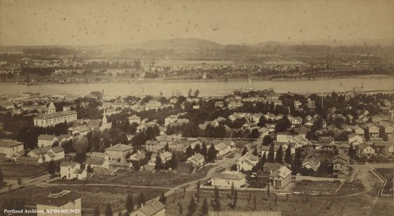 """A panorama view of """"central"""" Portland, circa 1886. The central streets are SW Hall Street and SW College Street and Harrison School is on the left.   View this image in efiles by clicki…"""