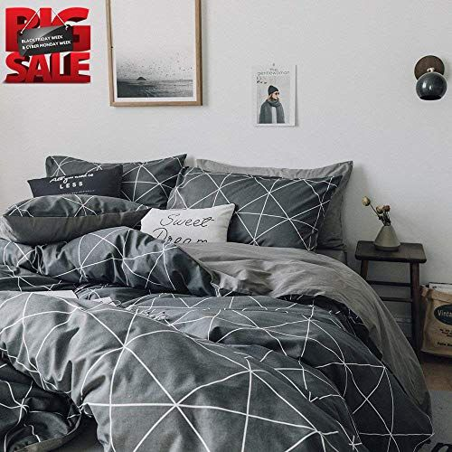 Plaid Pattern Cotton Bedding Duvet Cover Set Grey Grid Printed