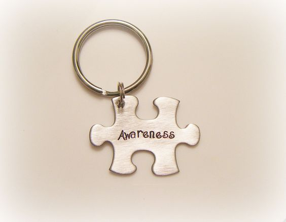 Hand Stamped Autism Awareness Keychain - Puzzle Keychain - Puzzle Piece Keychain. $20.00, via Etsy.