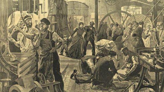 Die Arbeit in den Fabriken ist für die Arbeiter sehr gefährlich, Schutzvorschriften gibt es keine. Das Bild zeigt einen Unfall in einer Maschinenfabrik, Holzstich 1889.