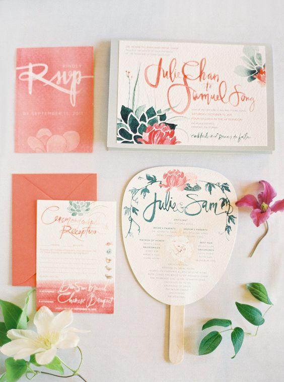 Beautiful watercolor invitations - Julie Song Ink http://juliesongink.com via http://StyleMePretty.com/2012/04/19/fremont-wedding-at-palmdale-estates-by-jose-villa-amy-kaneko-events/ Photography by josevillaphoto.com
