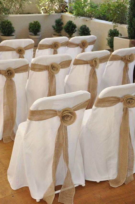 Rustic wedding idea burlap chairback decorations troue for Decorating ideas using burlap