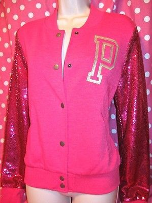 New! victoria secret pink bling sequin varsity jacket hoodie