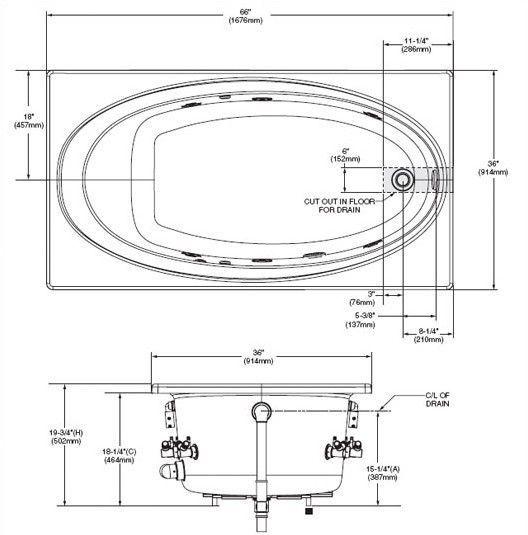 Whirlpool Tub Dimensions American Standard Evolution 66quot X