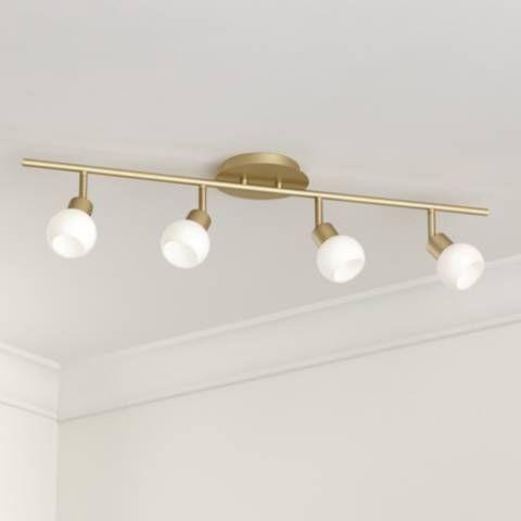 Pro Track Globe Brass 4 Light Led Plug In Track Fixture 67k76 Lamps Plus Track Lighting Fixtures Track Lighting Bedroom Modern Track Lighting