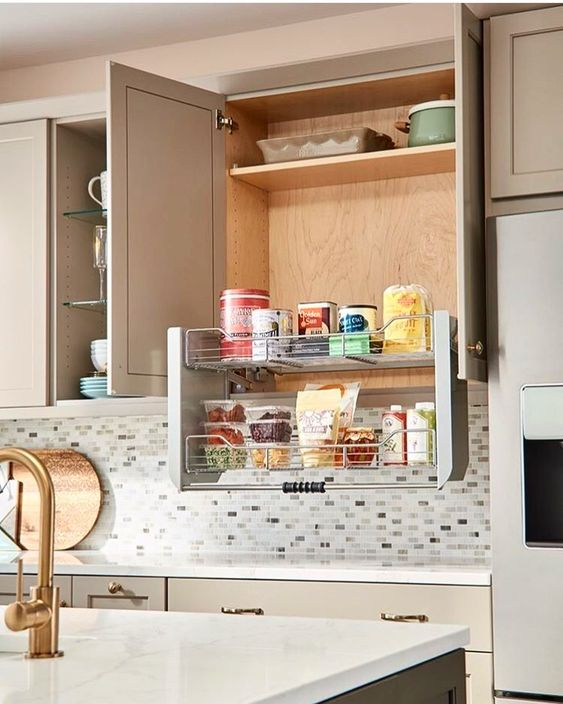 Holz On Instagram Our Pull Down Cabinet Shelf Brings Item In Wall Cabinets Within Easy Counter Level Reach Visit Kitchen Upgrades Dream Kitchen Rev A Shelf