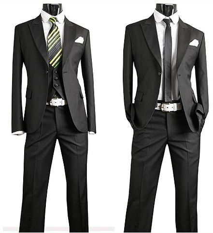 Grooms 3 piece slim suit matched up with a simple European Style
