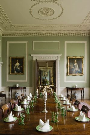 The Dining Room designed by James Wyatt, painted a slate green with a delicate classical frieze, at Castle Coole, Enniskillen, Co Fermanagh: