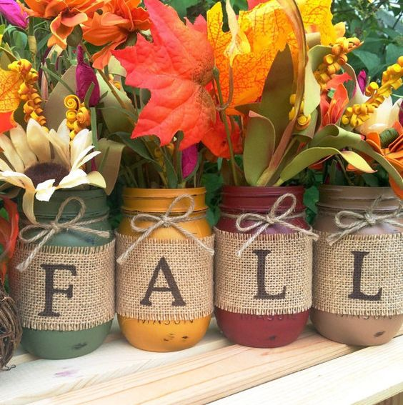 Set of 4 Hand Painted Mason Jars, Autumn, Home Decor, Fall Decor, Thanksgiving, Centerpiece, Fall Wedding, Farmhouse, Fall, Country, Burlap