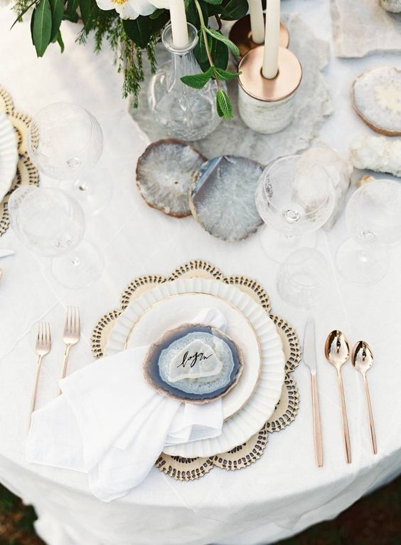 Luxe Bohemian Wedding Ideas - Gemstone Place cards