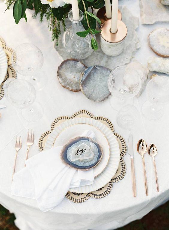 Luxe Bohemian Wedding Ideas - Gemstone Place cards
