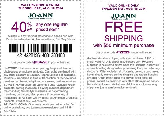 Pinned August 10th: 40% off a single item at Jo-#Ann Fabric, or online via promo code QHBA228 #coupon via The #Coupons App