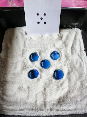 "Learn with Play at home: Salt Tray Game... counting & one-to-one correspondence ("",):"