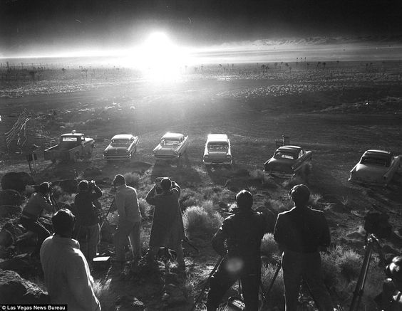 Nearly 1,000 atomic bomb tests (pictured) were detonated in the Nevada Test Site…