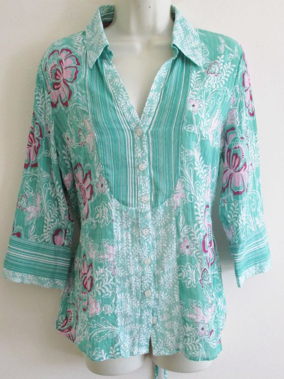 Per Una Summer Cotton Tunic Top Blouse 10 UK Floral & Stripe Mix Green Pinks
