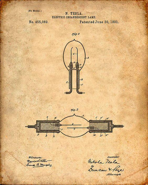 Patentes Imprimir Tesla incandescente Lâmpada de parede Tesla por VisualDesign