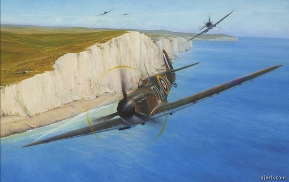 COASTAL PATROL – Richard Taylor  //  Mk I Spitfires of 610 Squadron flying a defensive patrol low over the White Cliffs during the height of the Battle of Britain in August 1940.
