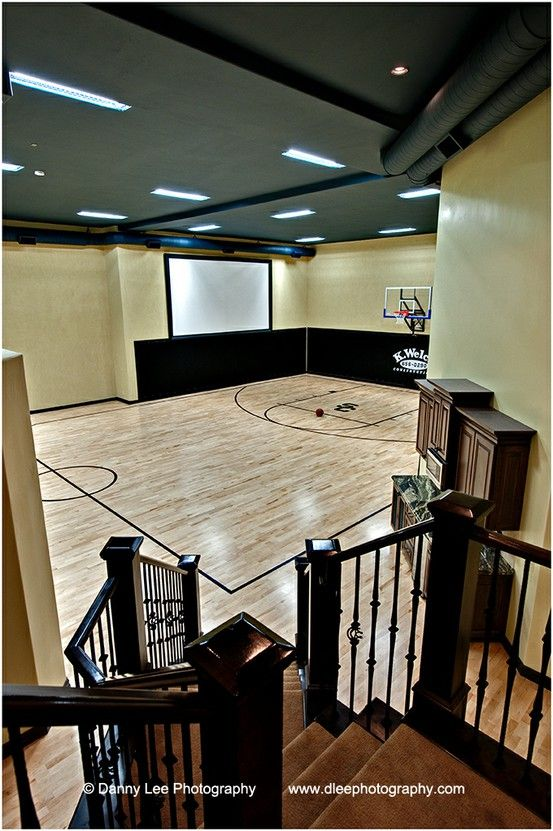 Dad is in the house basketball court inside your private for Basketball court at home