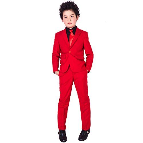XoMoFlag Big Kids Flower Boys Formal Suit Piano Show Stage Dress Hot Red