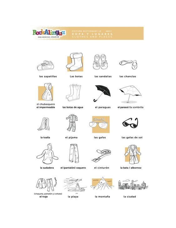 spanish worksheet about clothes places and weather more spanish teaching resources at www. Black Bedroom Furniture Sets. Home Design Ideas