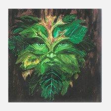 Green Man Tile Coaster for