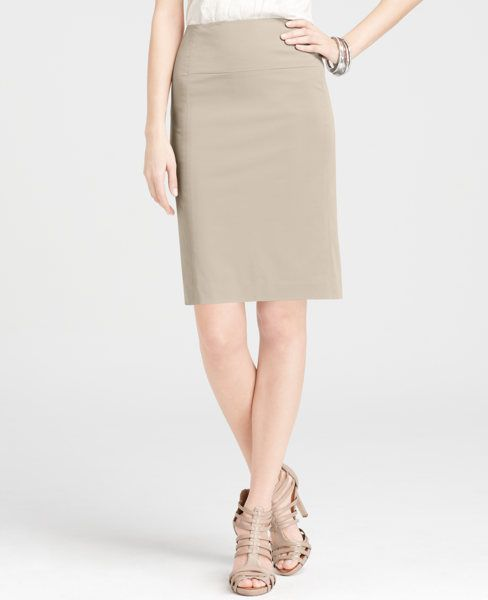 Ann Taylor- Polished Cotton Seamed Pencil Skirt