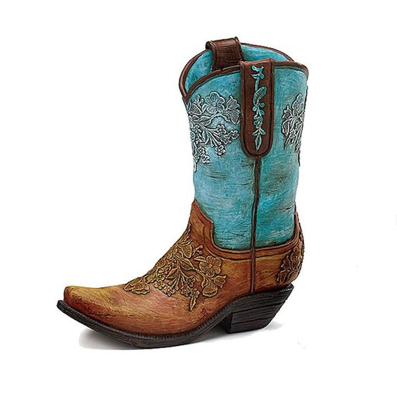 New Cowboy Boot Flower Vase Turquoise &amp Brown Western Centerpiece