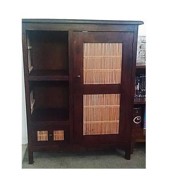Vintage Teak Hutch Cabinet, Bamboo Door Panels by Times3Vintage on Etsy