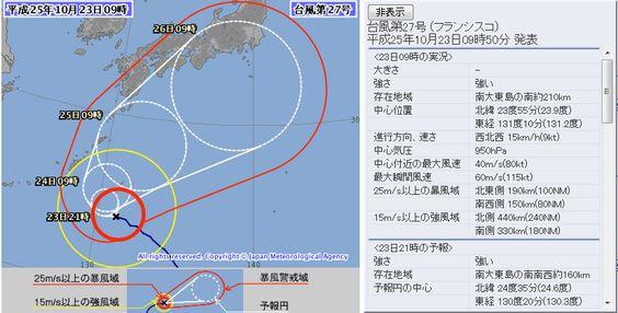 台風27号 2013年10月23日09時