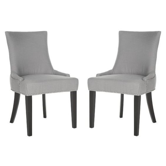 Safavieh Elsa Dining Chair (Set of 2) (515 CAD) ❤ liked on Polyvore featuring home, furniture, chairs, dining chairs, artic grey, low chair, gray furniture, set of two chairs, safavieh dining chairs and safavieh chair