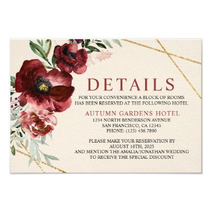 Floral Burgundy Fall Wedding Insert Details Card - autumn gifts templates diy customize
