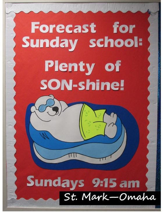 Sunday school bulletin board - fun to do in the middle of winter when it's really cold outside.